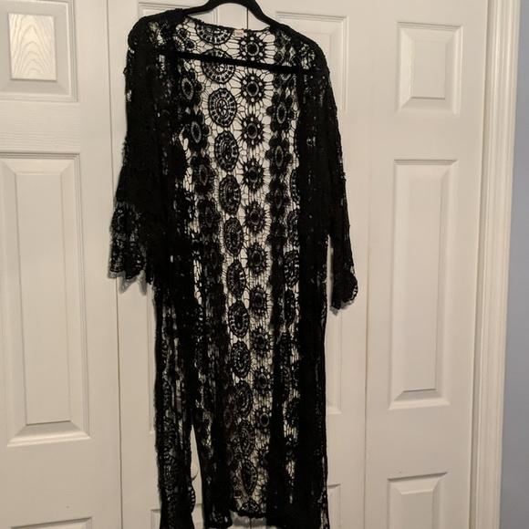 Mossimo Supply Co. Sweaters - Black Duster Length Lace Kimono